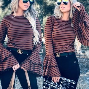 FARRAH Striped Ruffle Sleeve Top